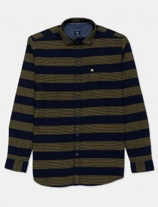 Eqiq navy and olive stripe cotton shirt