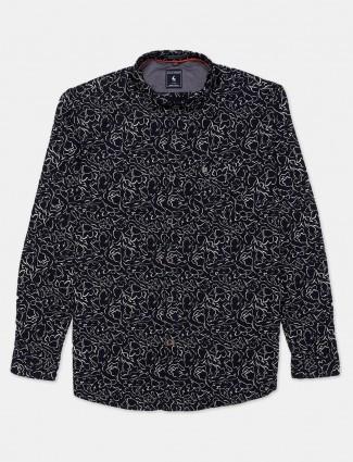 Eqiq navy printed casual shirt in cotton