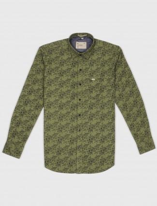 EQIQ olive color printed pattern shirt