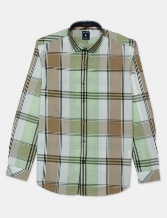 Eqiq pista green checks patch pocket shirt
