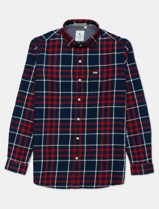 Eqiq red and navy cotton checks casual shirt