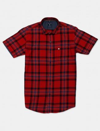 Eqiq red checks cotton mens shirt