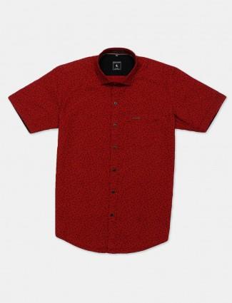 Eqiq red printed cotton shirt for mens