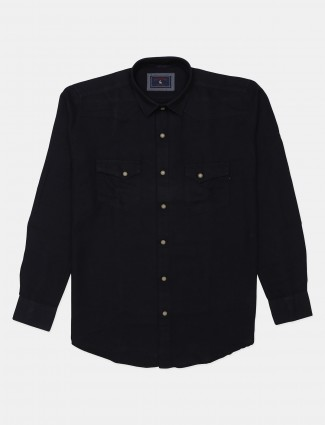 Eqiq solid black casual cotton shirt