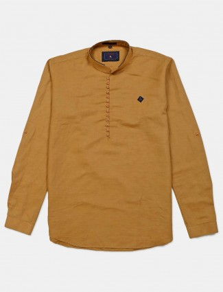 Eqiq solid brown slim fit cotton shirt for mens