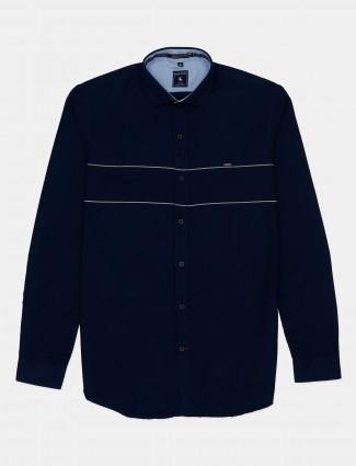 Eqiq solid navy cotton casual shirt