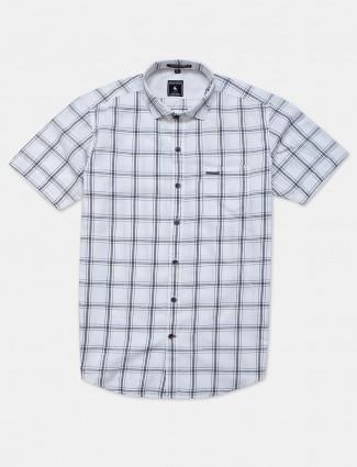 Eqiq white checks casual cotton shirt
