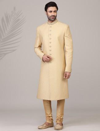 Eternal gold jacquard silk sherwani