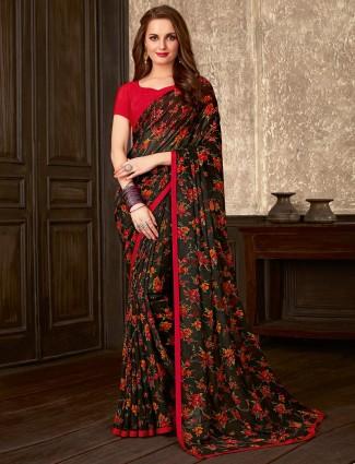 Excellent black printed georgette saree for festive