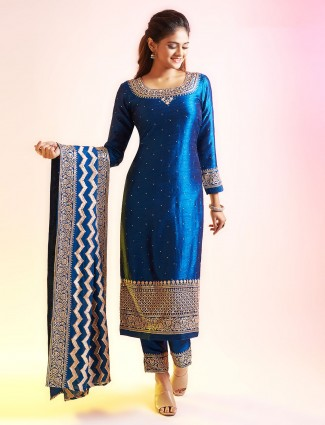 Excellent royal blue punjabi style festive wear salwar suit
