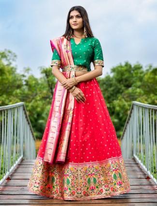 Excellent silk coral pink unstitched lehenga choli for wedding ceremonies