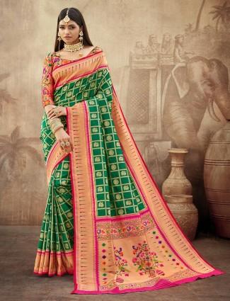Excellent weeding look banarasi paithani saree in green