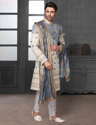 Exclusive grey and cream shaded silk sherwani