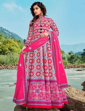 Exclusive grey party wear patola silk floor length anarkali salwar suit