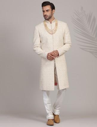 Exclusive heavy embroidered cream sherwani in silk