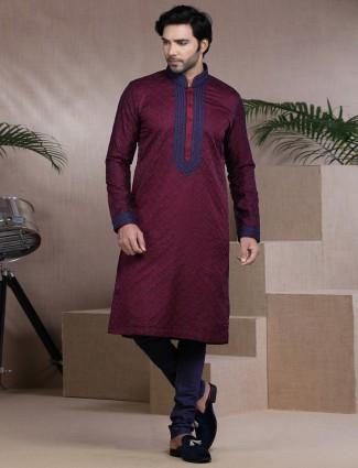 Exclusive maroon cotton lucknowi stand collar kurta pajama