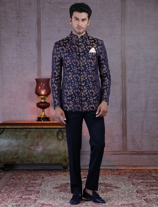 Exclusive navy printed terry rayon jodhpuri suit