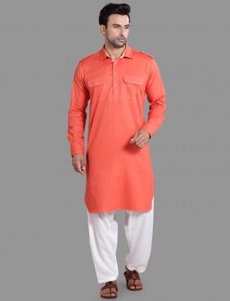 Exclusive orange cotton rayon pathani suit