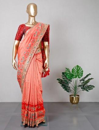 Exclusive peach patola silk saree for wedding