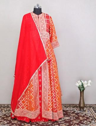 Exclusive wedding sessions red georgette anarakli suit