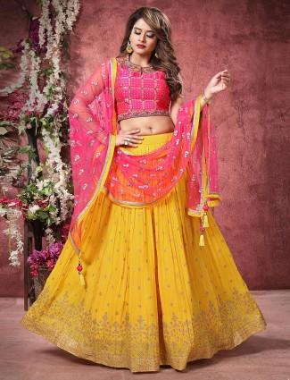 Exclusive yellow and magenta wedding wear lehenga choli