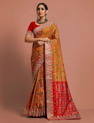 Exclusive yellow weddding wear patola silk saree