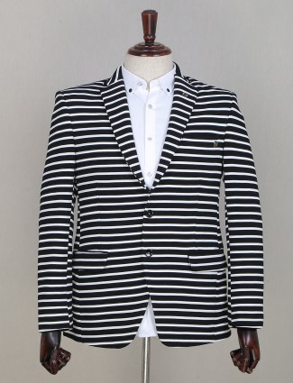 Extravagant striped style navy tint blazer in terry rayon