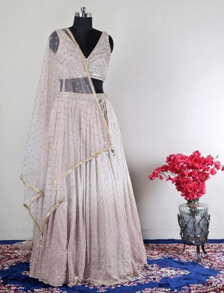 Extravagant wedding wear grey lehenga for womens