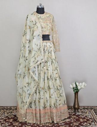 Extravagant wedding wear pista green hue designer lehenga