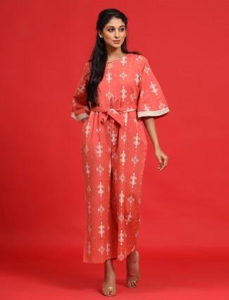 Fancy festive wear peach printed jumpsuit in cotton