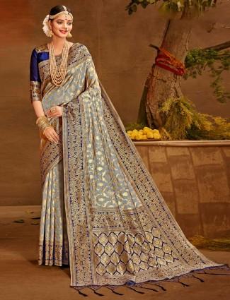 Fantastic grey wedding wear saree in banarasi silk