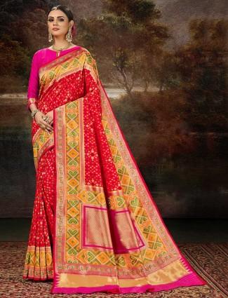 Fantastic red patola silk wedding saree for women