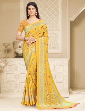 Fantastic yellow printed satin crepe saree