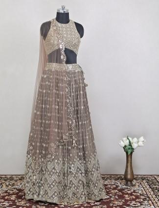 Fashionable brown hue wedding lehenga with odhani