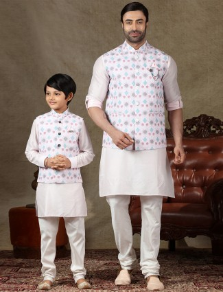 Father and son concept pink cotton mens waistcoat set
