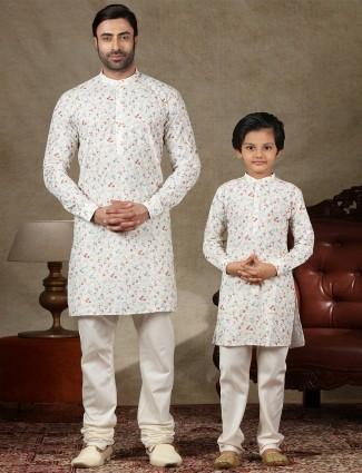 Father and son concept white cotton kurta suit