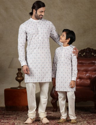 Father and son full sleeves kurta suit in off white