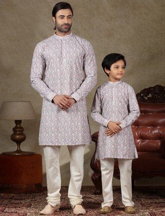 Father and son special cotton violet full sleeve kurta suit