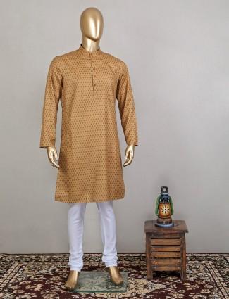 Fawn shade printed kurta suit for men