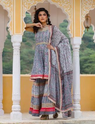 Festival wear grey printed punjabi style cotton sharara suit