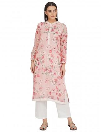 Festival wear peach printed punjabi style cotton pant suit