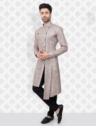 Festive beige cotton kurta suit for men