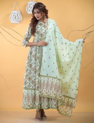 Festive functions pista green cotton kurti