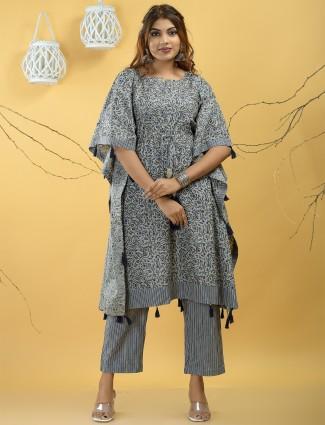 Festive functions punjabi kaftan style grey cotton pant set