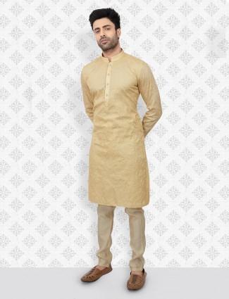 Festive occasion beige color cotton kurta suit
