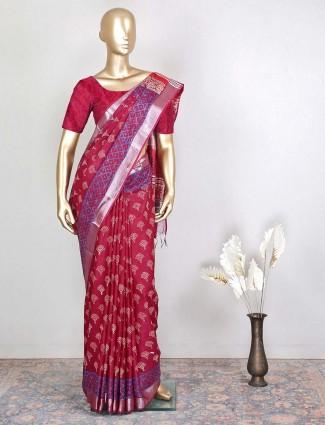 Festive occasions cotton maroon saree