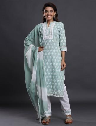 Festive occasions punjabi style grey cotton pant set