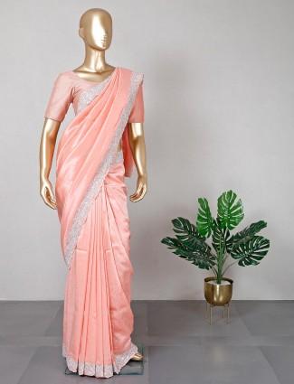 Festive special peach silk saree
