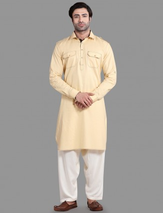 Festive special solid lemon yellow pathani suit