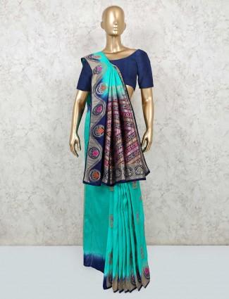 Festive wear aqua blue dola silk saree